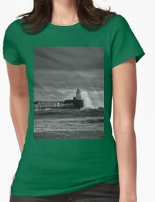 Rough seas at the harbour mouth (Black and White) T-Shirt