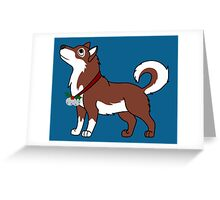 Red Alaskan Malamute with Silver Jingle Bells & Holly Greeting Card