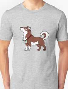 Red Alaskan Malamute with Silver Jingle Bells & Holly T-Shirt