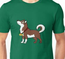 Red Alaskan Malamute with Gold Jingle Bells & Holly Unisex T-Shirt