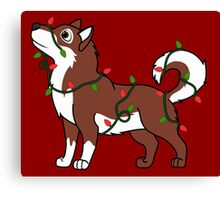 Red Alaskan Malamute with Red & Green Christmas Lights Canvas Print