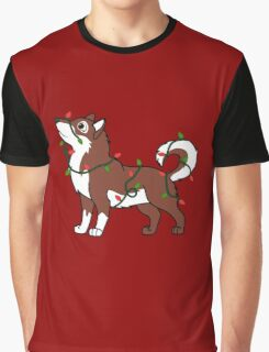 Red Alaskan Malamute with Red & Green Christmas Lights Graphic T-Shirt