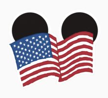 American Flag Ears One Piece - Short Sleeve