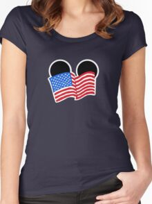 American Flag Ears Women's Fitted Scoop T-Shirt
