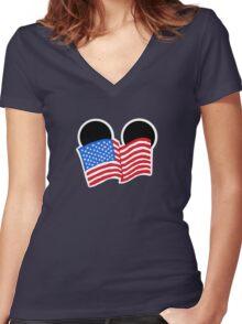 American Flag Ears Women's Fitted V-Neck T-Shirt