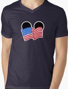 American Flag Ears Mens V-Neck T-Shirt