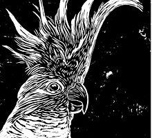 Cockatoo - lino cut print by Matthew Broughton