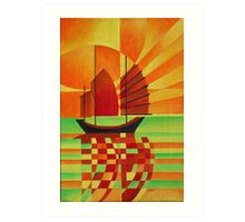Junk on Sea of Green Cubist Abstract Art Print
