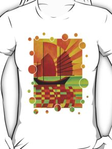 Junk on Sea of Green Cubist Abstract T-Shirt