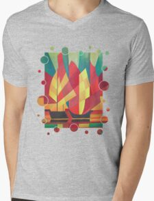 Happy Father's Day Cubist Abstract of Junk Sails and Ocean Skies Mens V-Neck T-Shirt