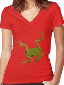 European Green Tree Frog Isolated Women's Fitted V-Neck T-Shirt