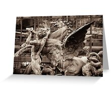 mythological fountain scene, triton & seahorse (hippocamp) Greeting Card