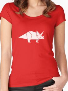 Prehistoric Origami - Triceratops  Women's Fitted Scoop T-Shirt