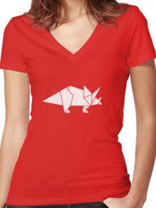 Prehistoric Origami - Triceratops  Women's Fitted V-Neck T-Shirt