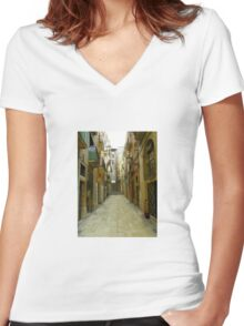 Lost in the alley Women's Fitted V-Neck T-Shirt