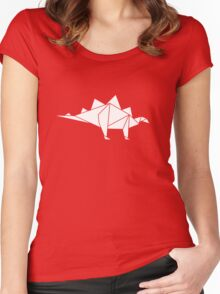 Prehistoric Origami - Stegosaurus Women's Fitted Scoop T-Shirt