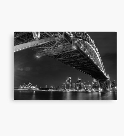 Sydney Harbour Bridge and Opear House B&W Canvas Print