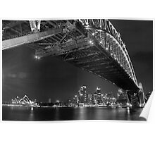 Sydney Harbour Bridge and Opear House B&W Poster