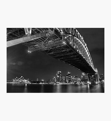 Sydney Harbour Bridge and Opear House B&W Photographic Print