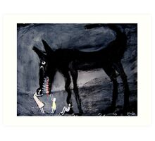 children with the black dog Art Print