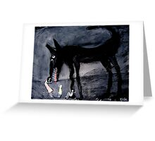children with the black dog Greeting Card