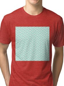 Polka dot love hearts white on pale blue waves Tri-blend T-Shirt