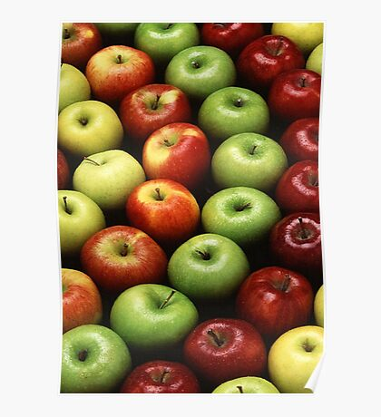 Red and Green Apples Displayed In A Pattern Poster