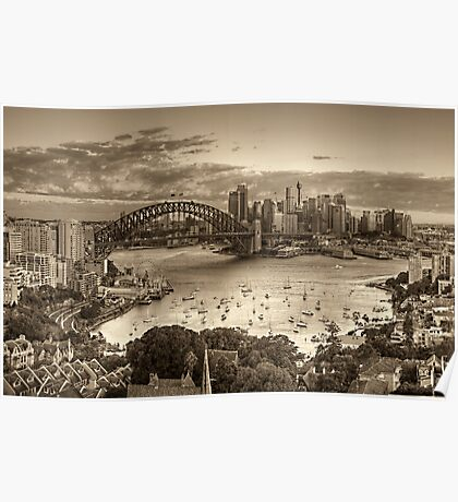 Through Sepia Eyes - Sydney Harbour, Sydney Australia - THe HDR Experience Poster