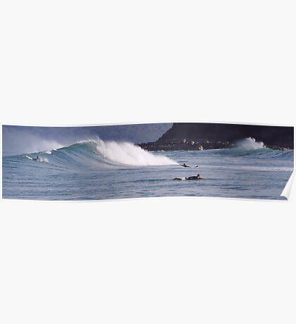 Surfing Dolphin Style - Newcastle Beach NSW Australia Poster