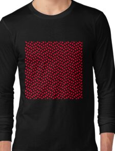 Polka dot love hearts red on black Long Sleeve T-Shirt