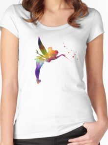 Tinkerbell in watercolor Women's Fitted Scoop T-Shirt