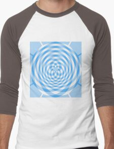 Kaleidoscope effect blue gingham Men's Baseball ¾ T-Shirt