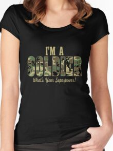 Soldier Superpower Camo Women's Fitted Scoop T-Shirt