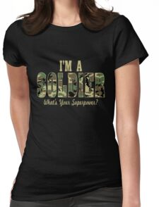 Soldier Superpower Camo Womens Fitted T-Shirt