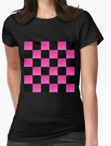PINK AND BLACK CHECKERED PATTERN T-Shirt