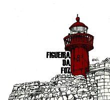 Figueira da Foz - Red Lighthouse by Paul  Nelson-Esch