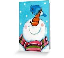 Snowman & Bluebird Greeting Card