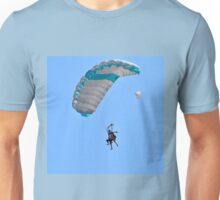 Tandem paragliding Instructor and trainee tied together during the jump.  Unisex T-Shirt