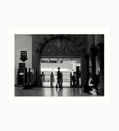 Saving time-waiting for the train Art Print