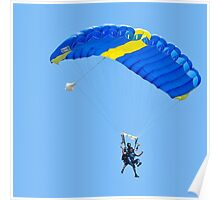 Tandem paragliding Instructor and trainee tied together during the jump.  Poster
