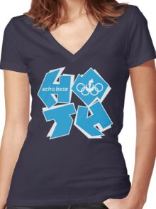 ECHO BASE OLYMPICS Women's Fitted V-Neck T-Shirt