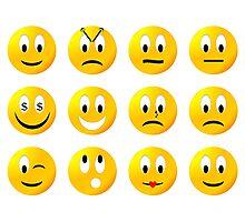 Random yellow emoji pack Photographic Print