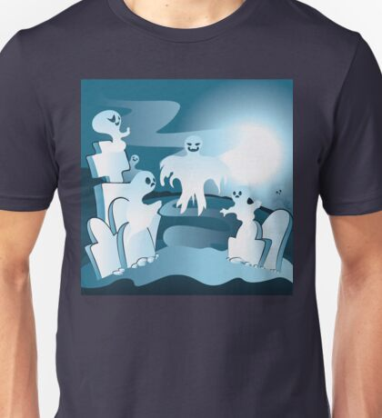 Cartoon Cemetery with Ghosts 2 Unisex T-Shirt