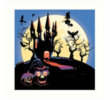 Haunted Halloween Castle 2 Art Print