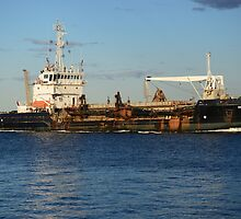 DAVID ALLEN DREDGE - NEWCASTLE HARBOUR by Phil Woodman