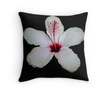 White Hibiscus Isolated on Black Background Throw Pillow