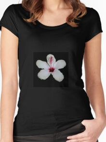 White Hibiscus Isolated on Black Background Women's Fitted Scoop T-Shirt