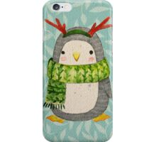 Cute christmas penguin in scarf with horns. iPhone Case/Skin