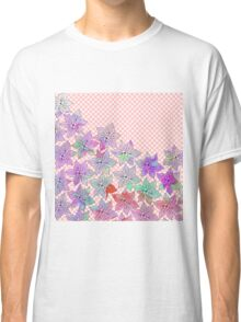 Chic trendy pink teal watercolor floral polka dots  Classic T-Shirt