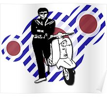 Retro sixties style scooter boy Poster